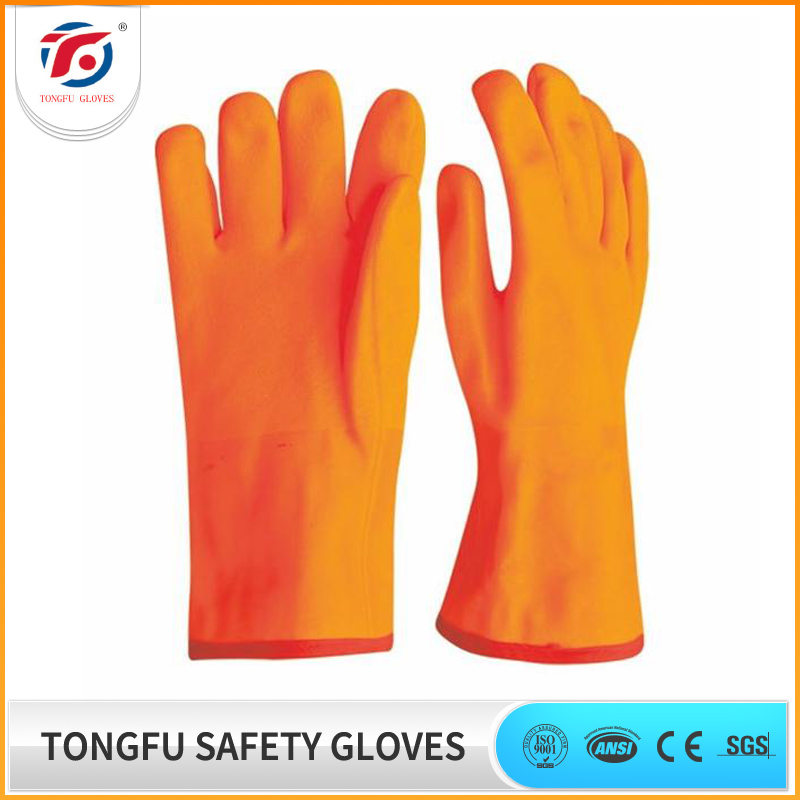 Fluorescent foam insulated liner industrial PVC fully dipped working gloves with sandy finish