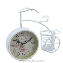 Metal bicycle gift add logo table clock with pen holder