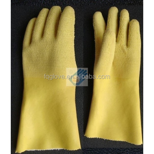 Yellow Crinkled Latex Working Gloves with Long Cuff and Jersey Liner
