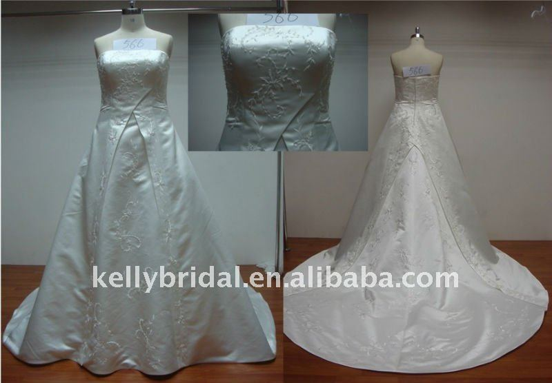 Decolated with Applique,For A-line Simple bridal wedding dress