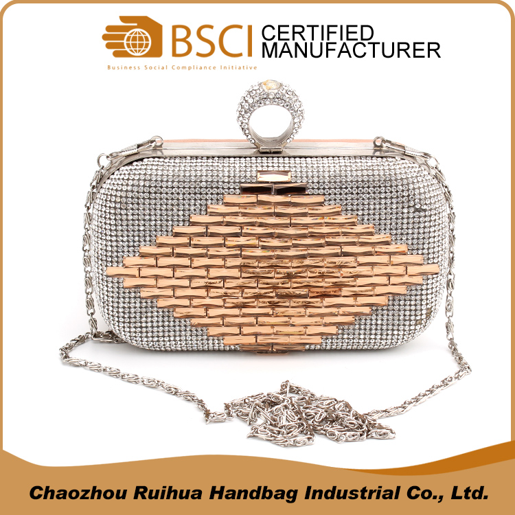 Factory direct designer silver and gold metal mesh handbag for women