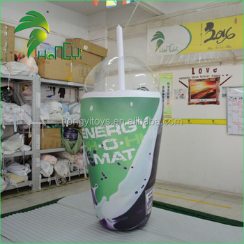 Customized replica model inflatable drink cup with straw