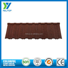 Building materials red stone coated metal roof tiles