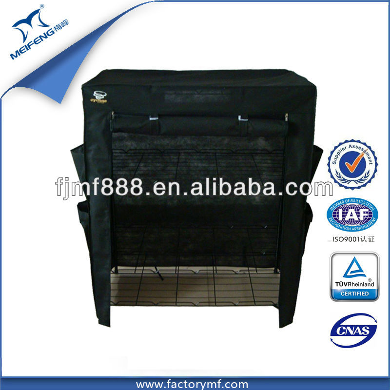 China Supplier Black 4 Tier Folding Shoe Rack with Cloth Cover
