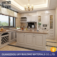 Cheap price white high gloss laminate sheet kitchen cabinets with stone kitchen countertops