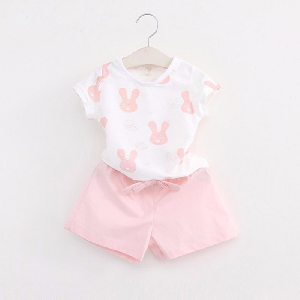 Girls Clothing Sets 2016 Summer Brand Girl Dress Children Clothing Set Rabbit Pattern Tops+Pants Girls Clothing Kids Clothes