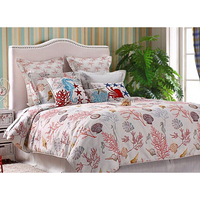 New Arrival Fashion Design Home Textile Bedding Room Queen Size Coral Printed Bedding Set