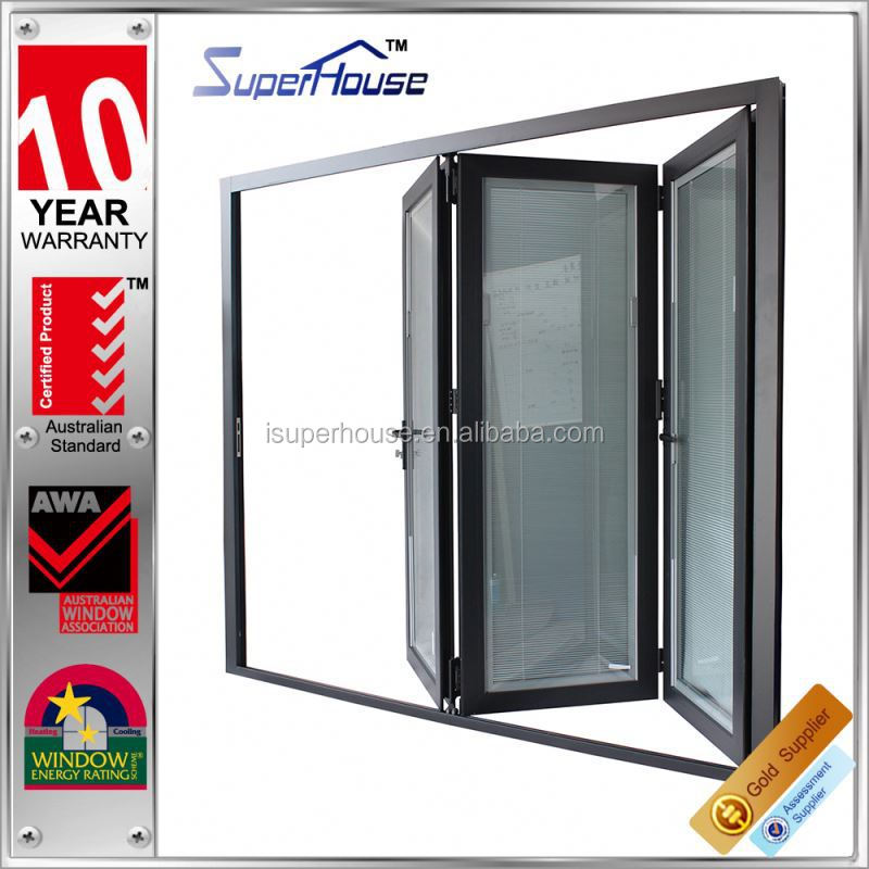 Australia AS2047 Standard lowes glass interior accordion horizontal folding doors with blinds inside