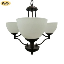 Fully Lighting Manufacturer 3 Arms Chandelier Factory Glass Lampshades Bronze Pendant Lamps