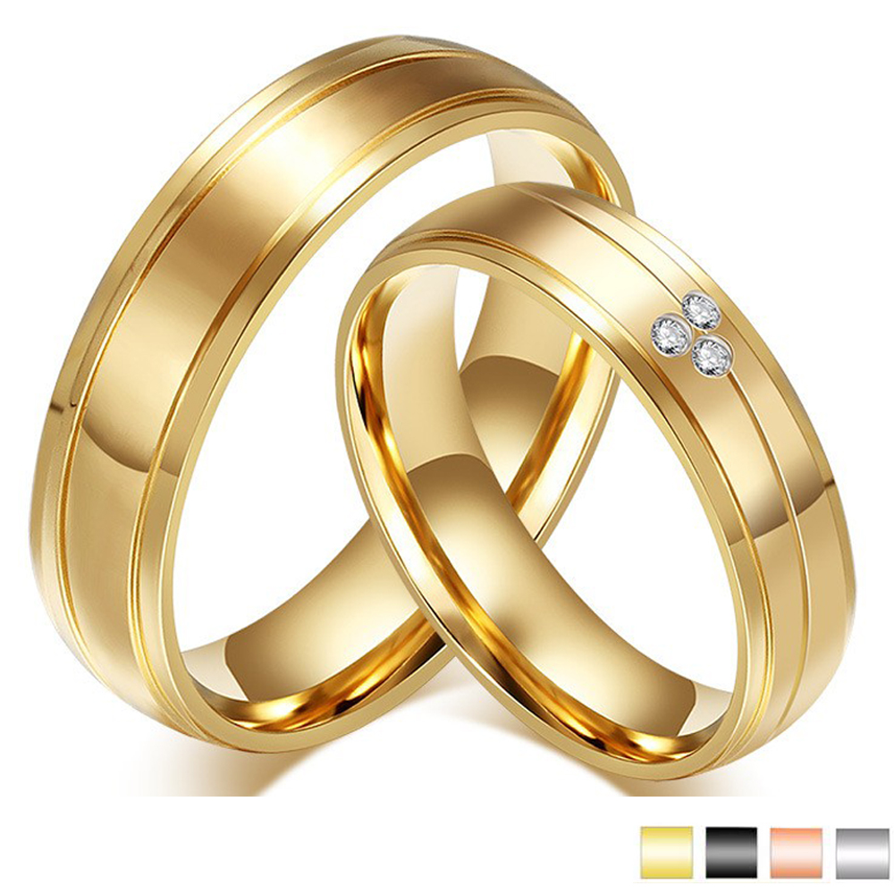 CZ Crystal Gold Engagement Wedding Ring Stainless Steel Couple Ring