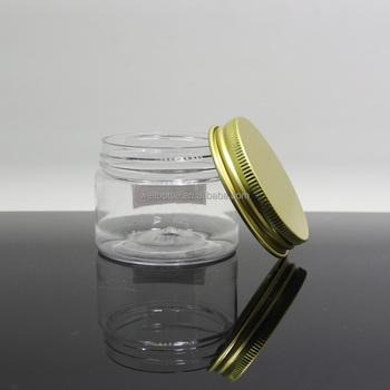 round cosmetics packaging wholesale plastic jars with screw top lids for body cream