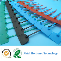 colorful plastic cable tie with tag