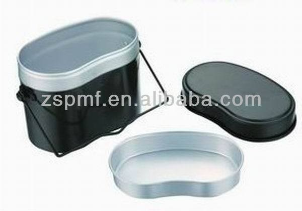 Aluminum military camping lunch box with 3 inserts / messtin / mess kit / dish with korean style