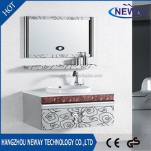Simple stainless steel modern ceramic basin sink with mirror