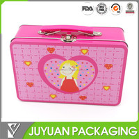 2015 new design cute lunch tin box with lock and key