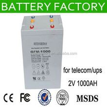 free maintenancedeep cycle rechargeable solar battery 1000AH solar power battery 2v 1000ah battery 2v