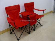 folding camping beach chair/ double seat chair with cooler bag and cup holder