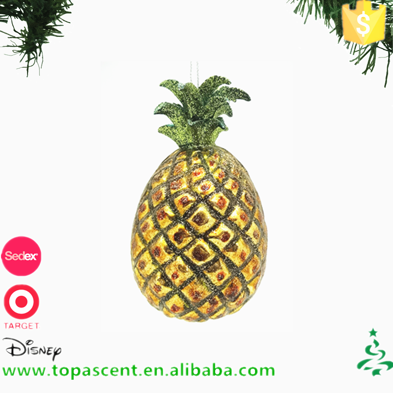 Hanging glass christmas decorations ginger tropical pineapple ornament from direct chinese wholesales