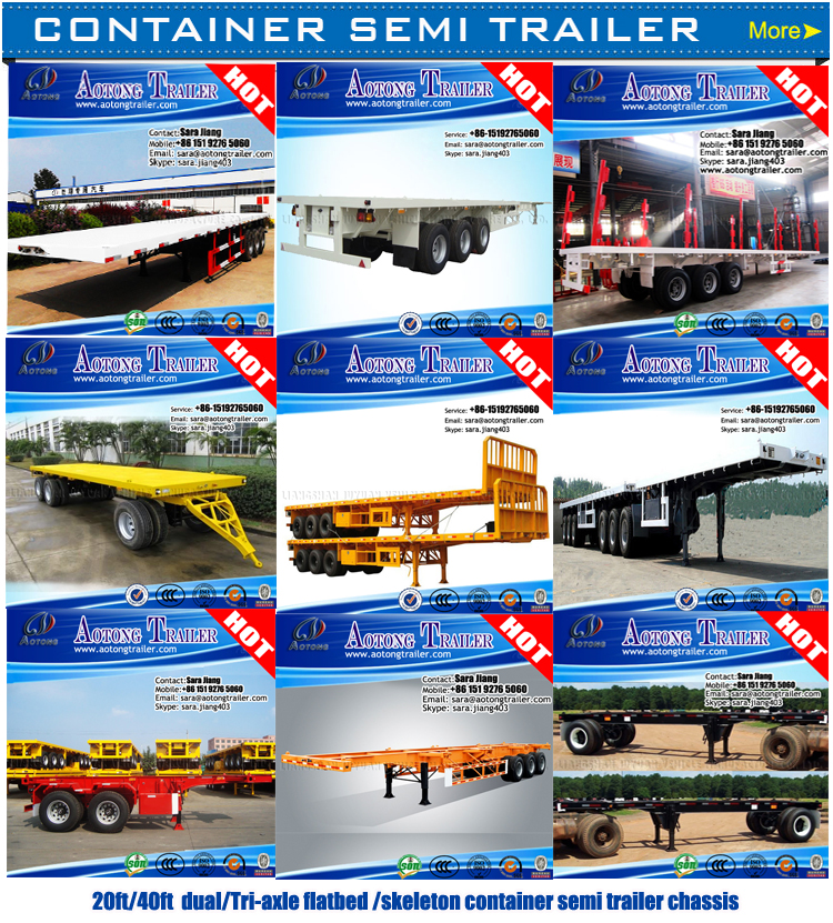 China factory supplier New and used 40ft flatbed/skeleton shipping container truck chassis semi trailer