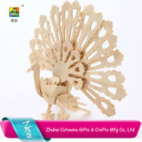 Cotowins wooden craft gifts 3d DIY kids puzzle handmade beauty products peacock decor