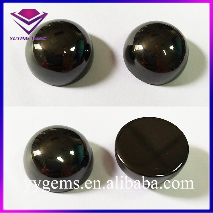 Very Thick Black Color Cabochons Round Cubic Zirconia Brilliant Gemstone