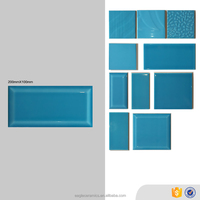 10x20mm sizes blue tile, kitchen glazed interior decorative wall tile foshan factory
