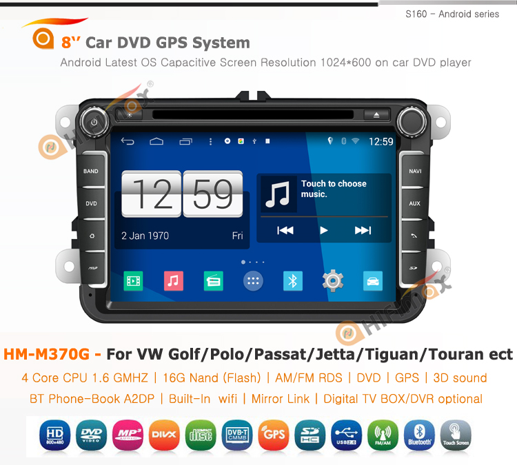 Hifimax Android 4.4.4 car dvd for vw passat with 4 Core CPU 16G Hard disk HD1024*600 capacitive screen