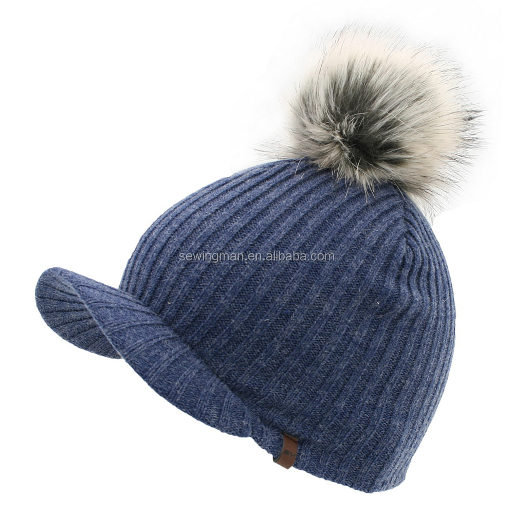 mixed wool rib knit visor cap hat with fake fur pompom on top