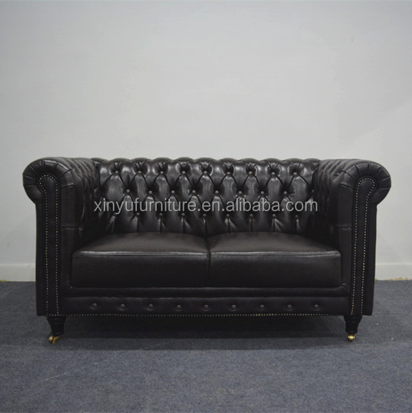 European Chesterfield Two Seat Leather Cover Sofa XYN4094