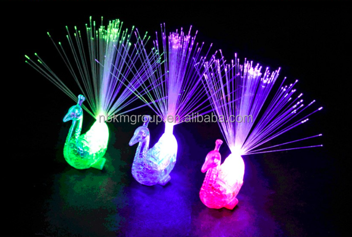 Hot Sale Peacock Optical Fiber Finger Lamp for Children