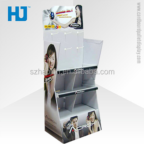 POP mobile phone accessories display stand, cardboard display stand with hooks for hanging