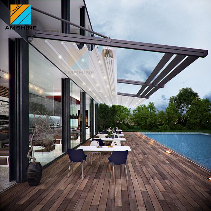 motorized waterproof retractable roof conservatory awning