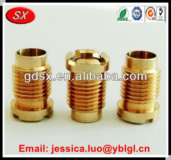 Dongguan made custom bronze machined parts,male female brass screw bushing for mobile anttena,auto parts bushing
