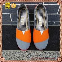 Factory real image splicing patterns grey orange pink grey stitching canvas shoes