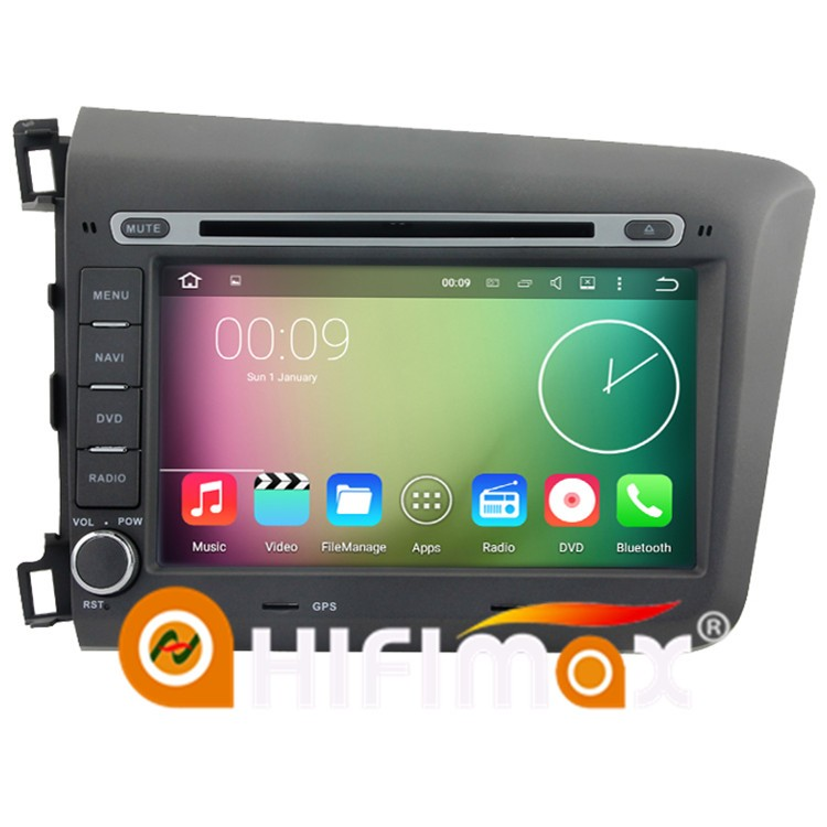 HIFIMAX Android 5.1.1 Capacitive screen car dvd multimedia for Honda CIVIC 2012 2013 car dvd gps for honda civic Left Hand Drive