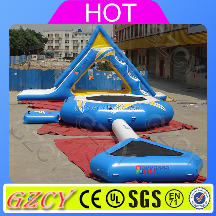 Heat sealed inflatable floating water slide,inflatable aqua slide,lake inflatable water slides