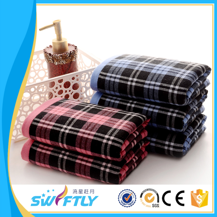 Popular Scottish Style Check Plain Pillow Towels With Cotton Used Home