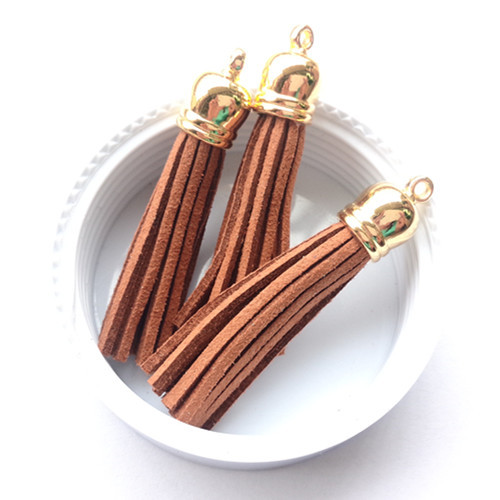 DIY Jewelry Macrame Material Handmade Tassl Charms for Phone Chain Curtain 100PCS 55MM Gold Caps Suede Brown Cord Tassels