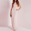 Light pink chiffon sexy slip maxi cocktail dress