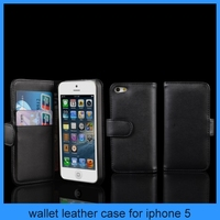 Card Holder Wallet PU Leather Case Cover For Apple iPhone 5 5G Flip Stand Black
