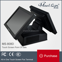 MS 808D Double Display All in One Touch Screen Pos Terminal for Restaurant