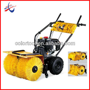 Gas snow sweeper with dust collector and snow plow 3 in 1