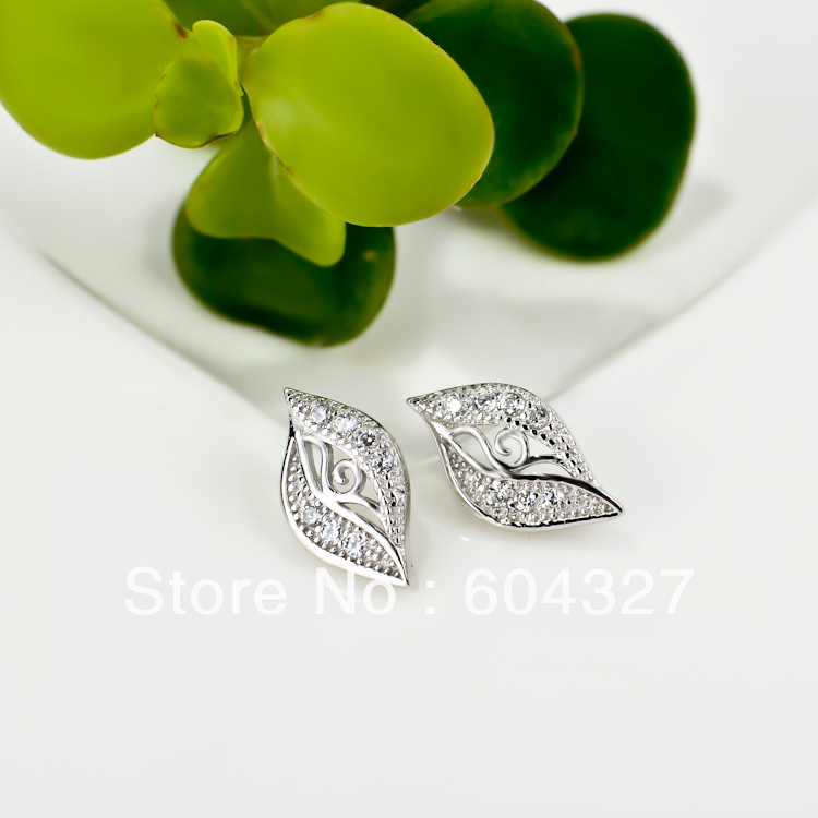 Wholesale 1 Pair 100% Full 925 Sterling Silver Leaf Stud Earrings Women Jewelry Micro Pave Silver Earrings Bricnos GNE0302