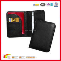 cheap personalized pu pvc black leather passport id card holder cover embossed silkprinting logo