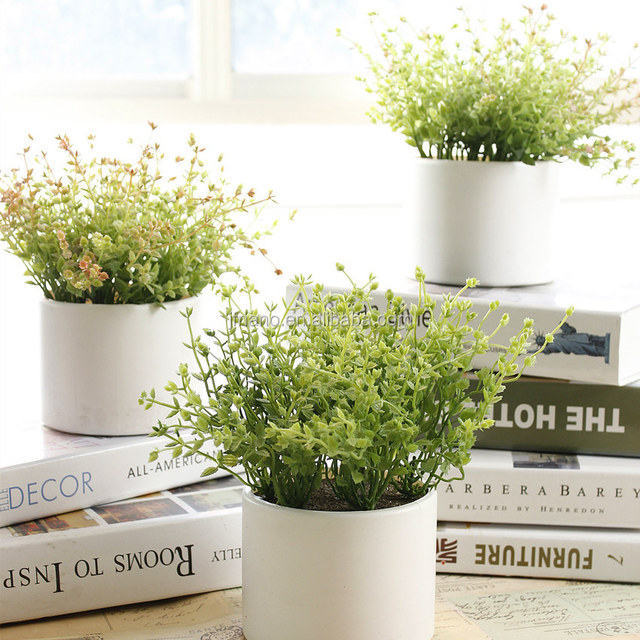 Vivid bluegrass potted plants artificial flower arrangements for hotels