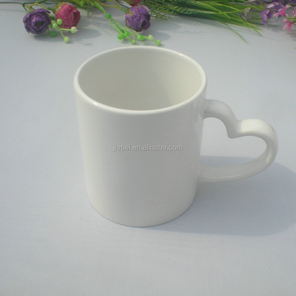 thermal transfer white ceramic cup creative heart shaped mug
