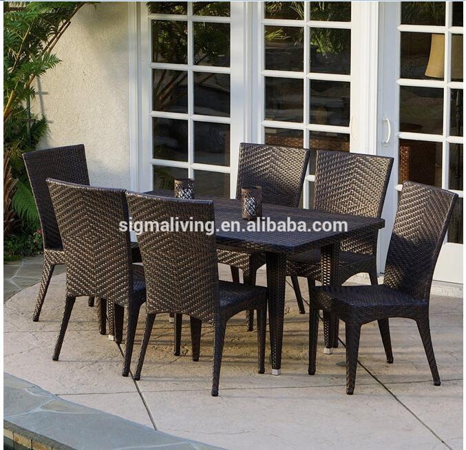 Hot sale aluminium outdoor fiberglass wicker garden dining table furniture