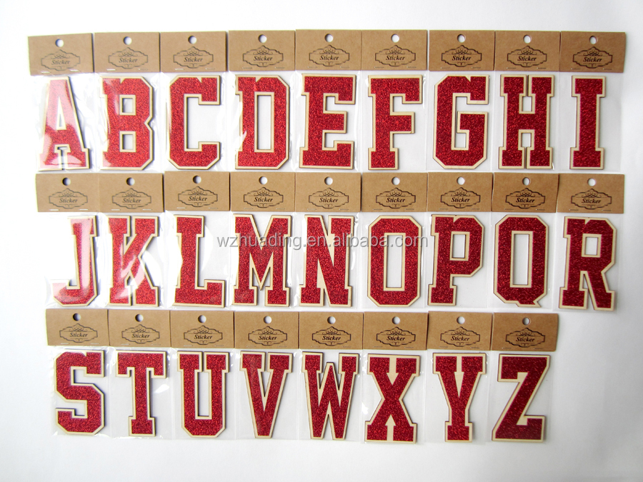 colourful glitter powder carving wood self-adhesive wooden letters alphabet