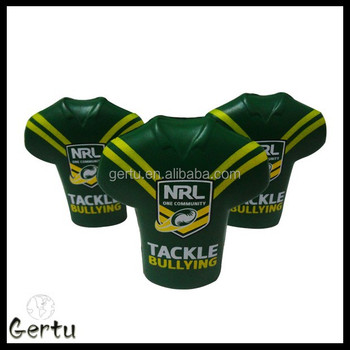 promotional sporting goods rugby shirt stress balls