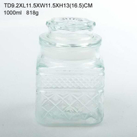 Free sample square clear glass canister with glass cork
